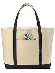 cheap -canvas tote beach bag - these large bags are strong enough to carry beach gear and wet towels. front pocket, zippered top closure and shoulder straps for easy carrying. (navy blue | 22 x 16 inches)
