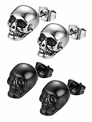 cheap -1-2 pairs stainless steel gothic skull stud earrings for men women halloween cosplay,hypoallergenic,silver,black (silver & black)