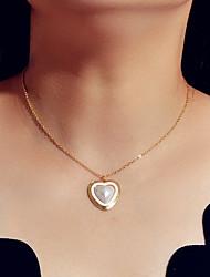 cheap -Women's Pendant Necklace Heart Romantic Alloy Gold 37 cm Necklace Jewelry For Engagement Festival