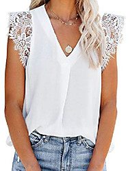cheap -women top cap short sleeve lace shirt embroidered chiffon v neck blouse crochet loose fitting solid ladies white s