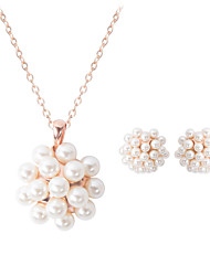 cheap -Women's Jewelry Set 3D Flower Fashion Imitation Pearl Gold Plated Earrings Jewelry Gold For Christmas Wedding Halloween Party Evening Gift 1 set