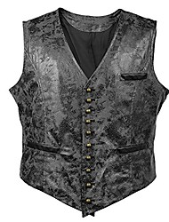 cheap -victorian vagabond steampunk gothic retro wind leather cowboy jacket men's vest (m, black)