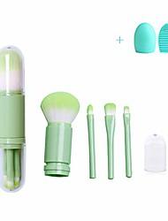 cheap -makeup brushes 4 in 1 retractable set,powder brush,eye shadow brush,highlighter brush,blending brush,mini size portable makeup brushes for travel household use,natural green color…