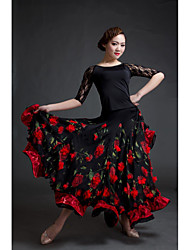 cheap -Women's Dancer Ballroom Dance Party Costume Cosplay Exotic Dancewear Chiffon Spandex Black / Red Skirts Top