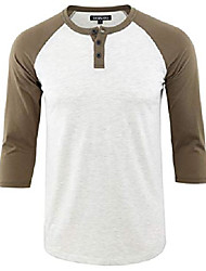 cheap -but& #39;s casual vintage 3/4 sleeve henley baseball jersey knit t shirts heather oatmeal/olive m