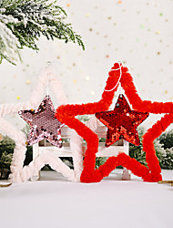 cheap -Christmas Decorations Fluffy Sequins Five-pointed Star Pendant