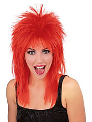 cheap -rock star spiked wig, red, one size