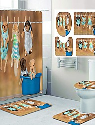 cheap -Cute dog Pattern Printing Bathroom Shower Curtain Leisure Toilet Four-Piece Design
