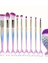 cheap -makeup brush set,  10 pcs mermaid brush light color premium synthetic silver foundation blending blush face powder brush makeup brush kit (multicolor)