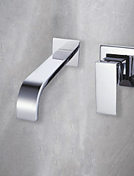 cheap -Bathroom Sink Faucet - Wall Mount / Waterfall Chrome Wall Mounted Single Handle Two HolesBath Taps