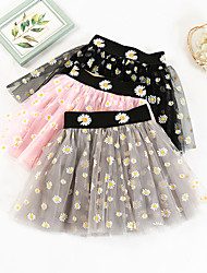 cheap -Kids Girls' Children's Day Skirt Blushing Pink Light gray Black Daisy Floral