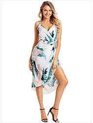cheap -Women's Swing Dress Knee Length Dress - Sleeveless Print Ruffle Patchwork Print Summer Fall Casual Sexy 2020 White Black Blue Green S M L XL XXL