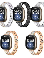 cheap -Diamond Wrist Strap for Fitbit Versa 3 / Fitbit Sense Smart Watch Strap Metal Five Beads Sport Band Stainless Steel Watchband