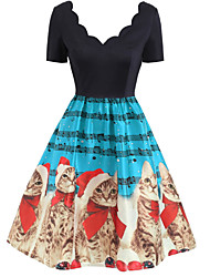 cheap -Women's A Line Dress Knee Length Dress Blue Red Green Short Sleeve Print Backless Zipper Patchwork Winter V Neck Vintage Christmas 2021 S M L XXL