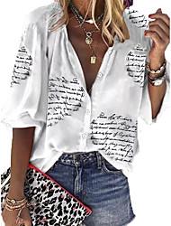 cheap -Women's Blouse Shirt Letter Long Sleeve V Neck Tops White