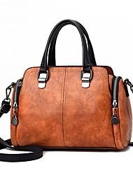 cheap -Women's Bags PU Leather Satchel Top Handle Bag Zipper Going out Office & Career Handbags Black Camel