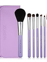 cheap -make up brushes z'oreya 7pcs pony hair cosmetic set with leather bag as fashion woman basic makeup brush kit (purple)