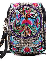 cheap -embroidered flap small canvas cross-body bag cell-phone purse for women mini shoulder bag handbag travel wallet bag (purple + flower)