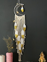 cheap -Boho Dream Catcher Handmade Gift Wall Hanging Decor Art Ornament Craft Woven Macrame Moon 100*20cm for Kids Bedroom Wedding Festival
