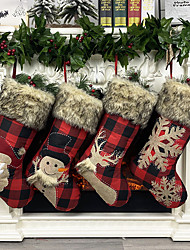 cheap -Christmas Ornaments Burlap Socks Large Size Santa Snowman Gift Socks Candy Socks Gift Bag