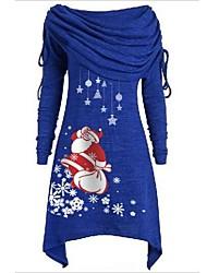 cheap -Women's Sheath Dress Knee Length Dress - Long Sleeve Print Print Fall Off Shoulder Casual Christmas 2020 Black Blue Purple Red Gray S M L XL XXL 3XL 4XL 5XL