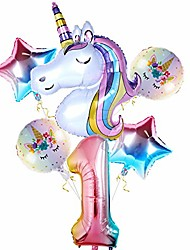 cheap -unicorn balloons for 1st birthday girl decorations, 32 inch number 1 balloon large rainbow unicorn balloon for unicorn theme baby party decor, first birthday party for girls