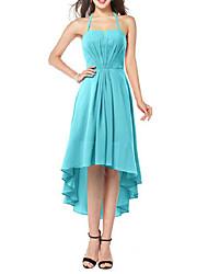 cheap -Sheath / Column Flirty Minimalist Homecoming Cocktail Party Dress Halter Neck Sleeveless Asymmetrical Chiffon with Sleek Ruffles 2021