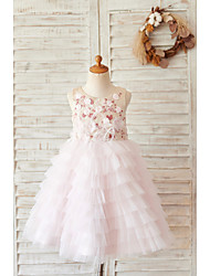 cheap -Ball Gown Knee Length Wedding / Birthday Flower Girl Dresses - Satin / Tulle Sleeveless Jewel Neck with Feathers / Fur / Beading / Embroidery