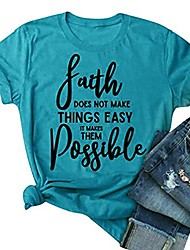 cheap -cute round neck tees for faith doesn't make things easy it makes them possible t shirt tops blue