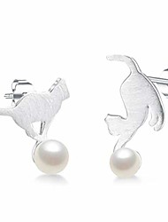 cheap -1 pair 925 silver hypoallergenic stud earring cute cat playing ball shape asymmetry ear studs jewellery for girls gift