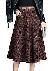 cheap -women's winter warm high waist plaid a-line pleated midi skirt with belt (red, small)