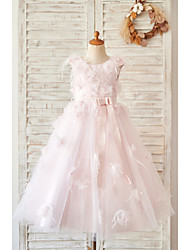 cheap -Ball Gown Tea Length Wedding / Birthday Flower Girl Dresses - Satin / Tulle Sleeveless Jewel Neck with Feathers / Fur / Lace / Belt