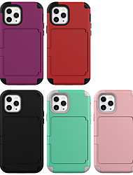 cheap -Case For iPhone 12 iPhone 12 Pro Max iPhone 12 Pro iPhone 12 mini Card Holder Shockproof Back Cover Solid Colored TPU Case For iPhone 11 Pro Max / SE2020 / XS Max / XR XS 7 / 8 7 / 8 plus