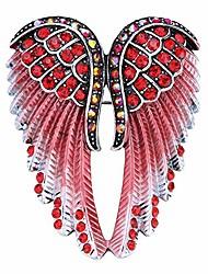 cheap -women's guardian angel wing brooch pins & pendants 2 in 1 - scarf holders - 2 x 1 inchs - lead & nickle free - crystal & enamel (red)
