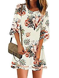 cheap -women casual summer crewneck mesh patchwork 3/4 bell sleeve loose a-line tunic dress ivory floral size medium