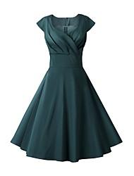cheap -Women's A-Line Dress Midi Dress - Sleeveless Print Ruched Print Summer V Neck Elegant Vintage 2020 White Black Blue Red Yellow Wine Dusty Blue Royal Blue Beige Light Blue S M L XL XXL