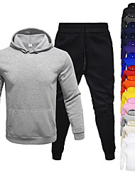 cheap -Men's 2 Piece Tracksuit Sweatsuit Jogging Suit Athleisure 2pcs Long Sleeve Thermal Warm Moisture Wicking Breathable Fitness Gym Workout Running Jogging Training Sportswear Solid Colored Normal Hoodie