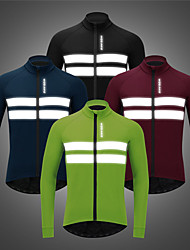 cheap -WOSAWE Men's Cycling Jacket Winter Bike Jacket Tracksuit Windbreaker Windproof Breathable Reflective Strips Sports Solid Color Black / Blue / Green Clothing Apparel Bike Wear / Long Sleeve / Athletic