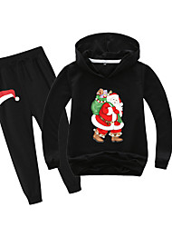 cheap -Kids Boys' Active Christmas Daily Wear Santa Claus Print Patchwork Print Long Sleeve Regular Clothing Set Black