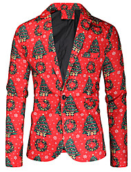 cheap -Men's Single Breasted One-button Notch lapel collar Blazer Christmas Red M / L / XL