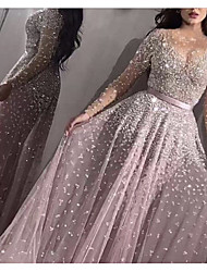 cheap -Women's Prom Dress Swing Dress Maxi long Dress - Long Sleeve Solid Color Sequins Patchwork Winter Elegant Sexy Party Slim 2020 Blushing Pink S M L XL XXL / Mini