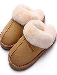 cheap -women's cozy bedroom slippers fuzzy house outdoor slippers (tan,9.5-10)