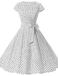 cheap -womens 50s style polka dot cocktail party rockabilly vintage dress with cap sleeve, d107 (white dots, 2xl)