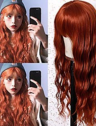 cheap -synthetic full wigs natural looking wave cosplay costume wig heat resistant fiber for women 24 inches orange natural curl wave for daily party(without bangs)