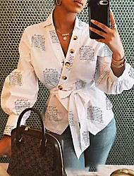 cheap -Women's Blouse Shirt Letter Long Sleeve Button Print V Neck Tops Lantern Sleeve Sexy Basic Top White