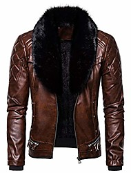 cheap -men's vintage style faux fur collar & faux leather jacket, zipper up punk gothic retro steam pocket coat s-xxl coffee