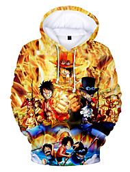 cheap -Inspired by One Piece Monkey D. Luffy Cosplay Costume Hoodie Terylene 3D Printing Hoodie For Men's / Women's