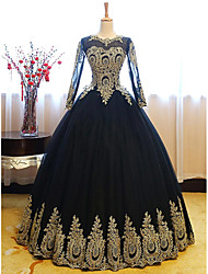 cheap -Ball Gown Luxurious Vintage Quinceanera Formal Evening Dress Jewel Neck Long Sleeve Floor Length Lace Tulle with Appliques 2020