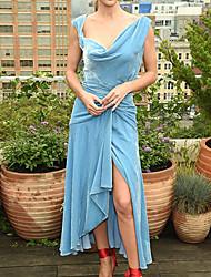 cheap -Sheath / Column Celebrity Style Elegant Prom Formal Evening Dress Scoop Neck Sleeveless Ankle Length Velvet with Pleats Split 2021