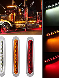 cheap -2Pcs 9LED Chrome Rings LED Amber Side Marker Truck Trailer Clearance light 30V Waterproof